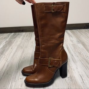 Diba Adagio Brown Leather Mid Calf Boots 38